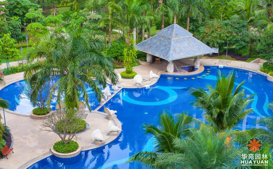 东南亚庭院绿植手绘图
